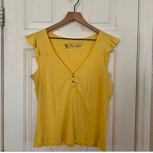 Woman's yellow casual tee shirt top